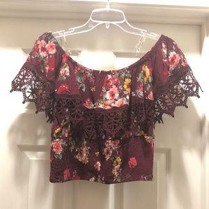 Haute Project | Off Shoulder Floral Lace Crop NWOT